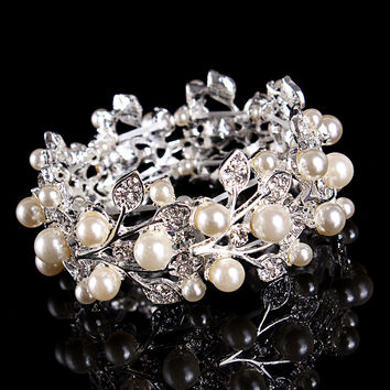Stylish Great Deal New Arrival Shiny Gift Hot Sale Awesome Wedding Dress Accessory Luxury Pearls Silver Ladies Bracelet [6586384519]