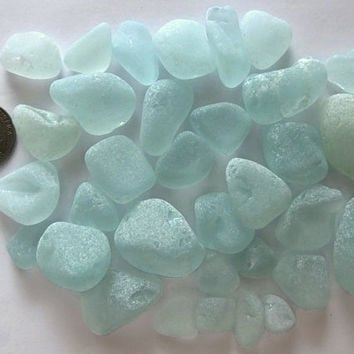 33 Pcs. Assorted Aqua Sea Glass Beach Find Surf Tumbled Frosted Arts Crafts Mosaics Jewelry Making Home Garden Medium-Sized Nugget
