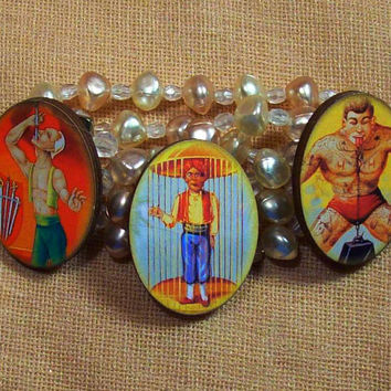Cute Vintage Victorian Edwardian Circus Image Jewelry Bracelet Bangle Original Wearable Art -