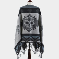 Day of the Dead Sugar Skull Aztec Fringe Poncho - Grey