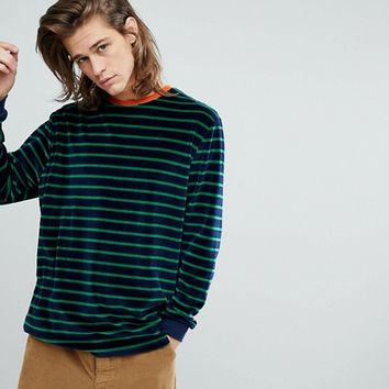 ASOS Oversized Long Sleeve Stripe T-Shirt In Navy Velour With Contrast Trim at asos.com