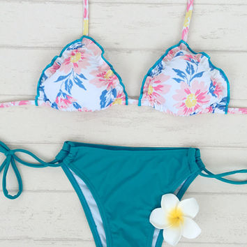 Floral Frill Triangle Halter Top X Teal Tie Side Bottom Bikini Set
