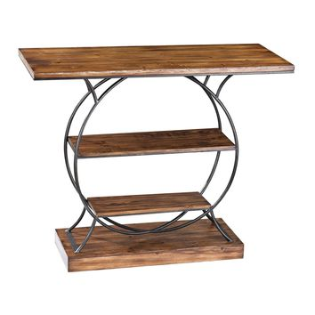 Wood And Metal Console Medium Oak,Restoration Grey