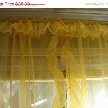 20% OFF SUMMER SALE Yellow Curtains Pair Sheer Ruffles 1970s