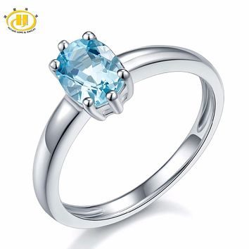 Hutang 1.08ct Natural Aquamarine Solid 925 Sterling Silver Solitaire Ring Gemstone Fine Engagement Wedding Jewelry New