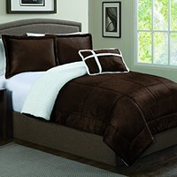 Geneva Home Fashion 4-Piece Micro Sherpa Comforter Set, Queen, Chocolate