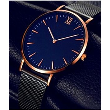 Men's slim business casual steel mesh with watch male watch