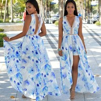 Womens Maxi Boho Floral Summer Beach Long Dress Evening Party
