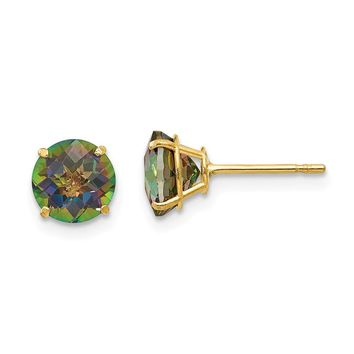 14K Yellow Gold Madi K Round Mystic Topaz 6mm Post Earrings