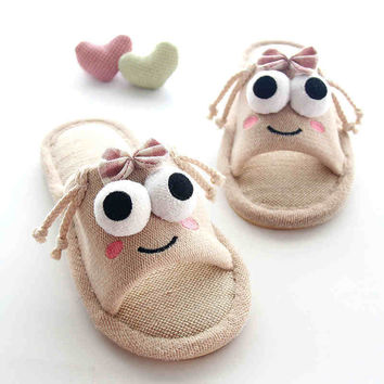 Lovely Female Slippers Slip Thick Soled Shoes Home Furnishing Indoor Winter Cotton Slippers Lovers Home Summer Linen Slippers
