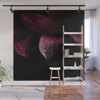 Purple petals with drops Wall Mural by vanessagf
