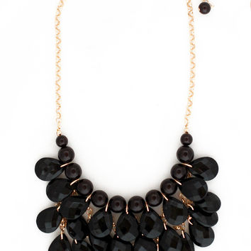 Black Beaded Teardrop Necklace