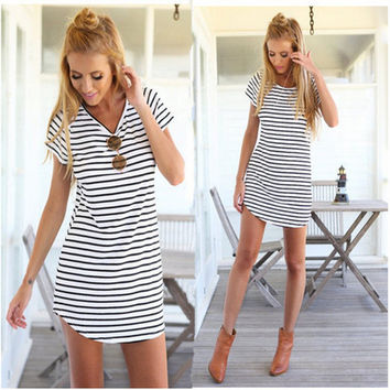 Summer Stripes Sea V-neck Short Sleeve One Piece Dress [6046500545]