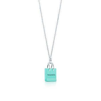 Tiffany & Co. - Tiffany & Co.® Shopping Bag charm with enamel finish in silver on a chain.