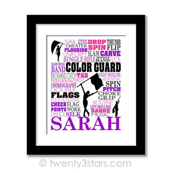 Colorguard Typography Wall Art - Choose Any Colors - twenty3stars