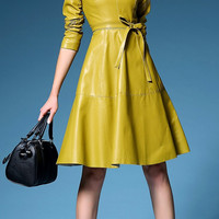 Yellow Faux Leather Long Sleeve A-line Dress