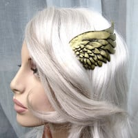 Gold wing hair clip LEFT SIDE valkyrie, mercury, steampunk, cosplay