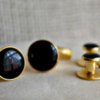 Black enamel and goldtone Tuxedo studs and cuff links // Groom Cuff links // Vintage black Cuff links // Father of the bride