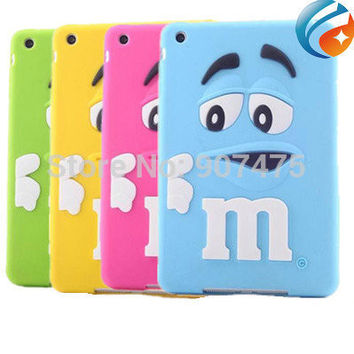 Newest 3D Cute Cartoon  Chocolate Bean Kids Shockproof Silicone Rubber Case Cover for ipad mini 1/2/3