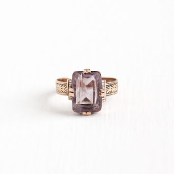 Antique Victorian 10k Rose Gold Amethyst Ring - Late 1800s Vintage Size 5 Purple Rectangular 2+ Carat Gemstone Fine Leaf Motif Jewelry