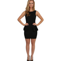 Low Back Peplum Dress in Black
