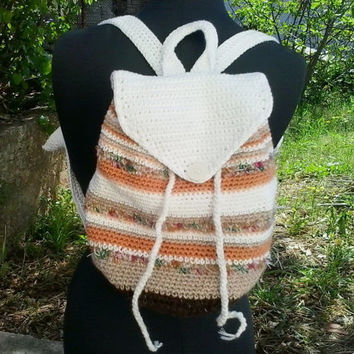 Crochet backpack pattern - Crochet bag tutorial - Striped boho backpack pdf pattern