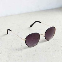 Aubrey Leather Round Sunglasses-