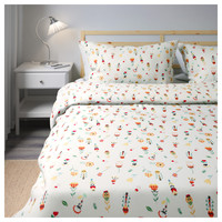 ROSENFIBBLA Quilt cover and 4 pillowcases White/floral patterned 200x200/50x80 cm - IKEA