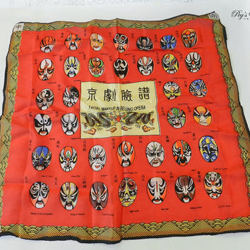 Beijing Opera Scarf/Vintage Asian Silk Scarf Facial Makeup Masks, Silk Charmeuse Square Scarf, Head Bandana Wrap