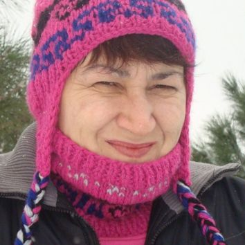 Hand Knit Womens Pink Cowl Scarf and Hat Set with Earflap