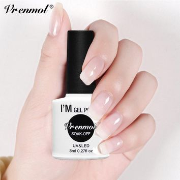 Vrenmol 8ml Opal Jelly White Nail Gel polish Soak Off Manicure Lacquer Nail Art UV Gel Polish Semic-transparent Nail Polish