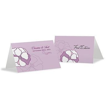 Pinwheel Poppy Place Card With Fold Vintage Pink (Pack of 1)