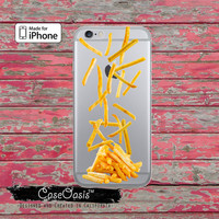 French Fries Falling Food Funny Art Cute Tumblr Inspired Clear Rubber Phone Case For iPhone 6, iPhone 6 Plus +, iPhone 5/5s, iPhone 5c Case