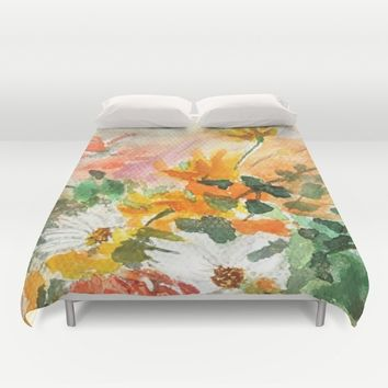 orange and white flower Duvet Cover by Color And Color