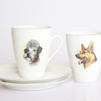German shepherd and poodle coffee cups, Mosa porcelain animal cups, vintage dog coffee mug, retro poodle decoration, German shepherd art