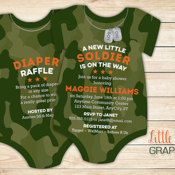 10 Camouflage Baby Shower Invitations, army soldier invitation -- Onesuit Die Cut shaped -- Single or Double sided