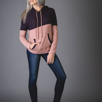 Eggplant and Rose Colorblock Hoodie