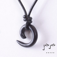 VujuWear Ebony Wave Pendant Men's Leather Necklace