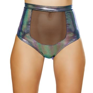 Roma Rave 3610 - 1pc High-Waisted Short with Sheer Panel and Cross Back