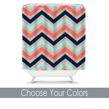 Chevron SHOWER CURTAIN Custom MONOGRAM Personalized Chevron Bathroom Decor Coral Navy Aqua Colors Beach Towel Plush Bath Mat Made in Usa