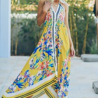 Halter Tropical Print Dress Yellow