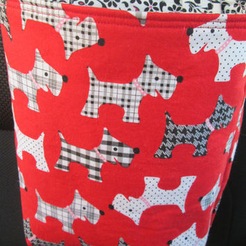 Car Trash Bag Reusable in Scottie Dogs on Red, Car Accessory, Litter Bag