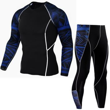 Mens Compression Shirts Bodybuilding Skin Tight Long Sleeves Jerseys Clothings Crossfit Exercise Workout Fitness Sportswear