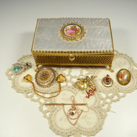Vintage Jewelry Lot Including Vintage Cameo Jewelry Box Brass Cameo Top Mirrored Assorted Pins Brooches Sweater Chain W. Germany