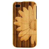 Boho Tronics Apple iPhone 4 4S 4G Genuine Bamboo Case Engraved Large 3D Flower Daisy Cover Hard Natural Smooth Wood Skin
