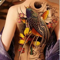 Waterproof Temporary Tattoo Sticker Koi lotus men's whole back tattoo large tatto stickers flash tatoo fake tattoos for women