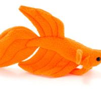 NEON Orange Betta Fish Stuffed Animal Plush Toy - Veil Tail Type Betta