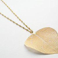 Large Gold Plated Real Leaf Pendant on 26inch Matte Gold Oval and Ring Chain