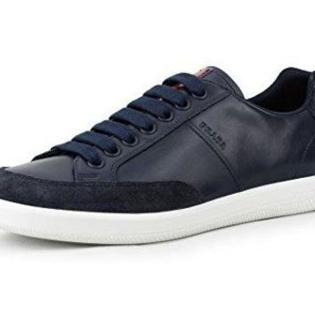 Prada Men's Plume Calf Leather With Suede Trainer Sneaker, Blue (Baltico) 4E3027