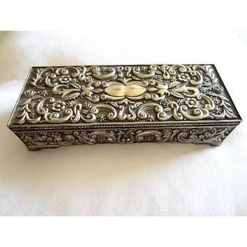 Godinger Silver Mirrored Rectangle Jewelry Box Floral Design Marked
